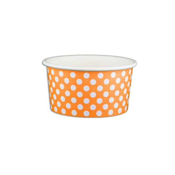 6oz Ice Cream/Froyo Cups 96mm 1000ct Orange Polka Dot
