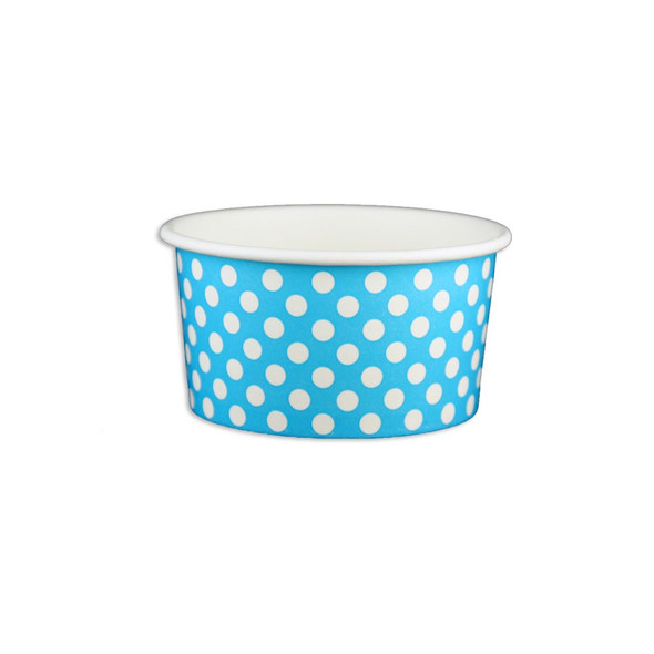 6oz Ice Cream/Froyo Cups 96mm 1000ct Blue Polka Dot