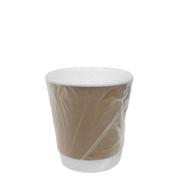 10oz Insulated Hot Cup Wrapped Kraft 90mm 500ct