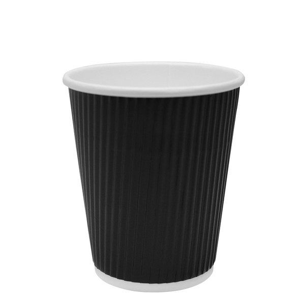 Karat 8oz Ripple Paper Hot Cup - Black 62mm 500ct
