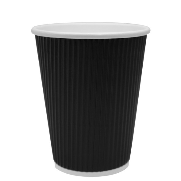 Karat 12oz Ripple Paper Hot Cup - Black 62mm 500ct