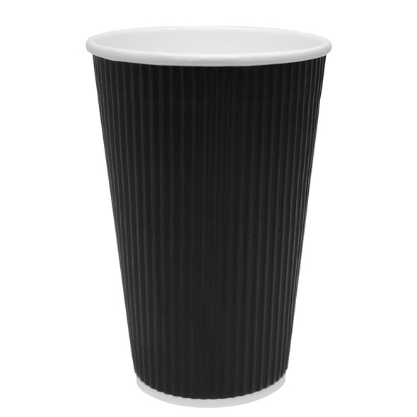 Karat 16oz Ripple Paper Hot Cup - Black 62mm 500ct
