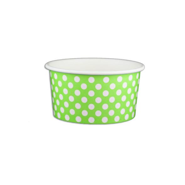 6oz Ice Cream/Froyo Cups 96mm 1000ct Green Polka Dot