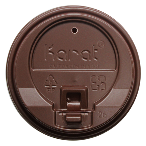 Karat 10-24oz Enclosure Sip Lids Brown 90mm 1000ct