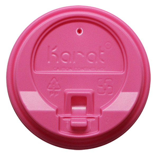 Karat 10-24oz Enclosure Sip Lids Pink 90mm 1000ct