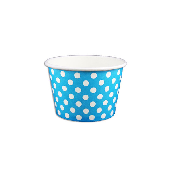 8oz Ice Cream/Froyo Cups 96mm 1000ct Blue Polka Dot