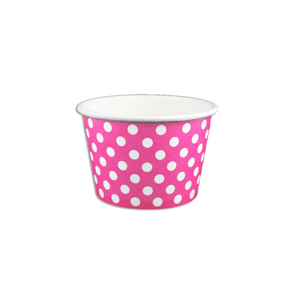 8oz Ice Cream/Froyo Cups 95mm 1000ct Pink Polka Dot - Ideal for Ice Cream Shops, Froyo, Boba, Gelato Shops and Restaurants