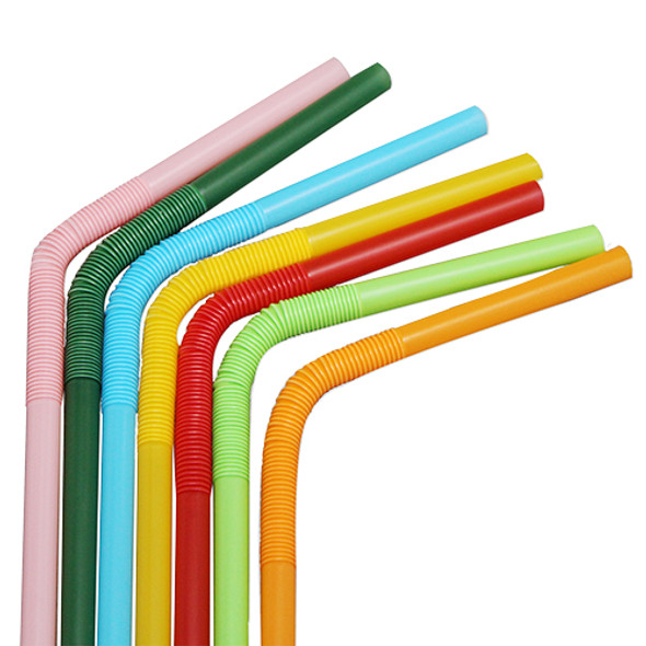 """7.5""""- 13.5"""" Bendy Straws 5mm Mixed Colors 4000ct"""