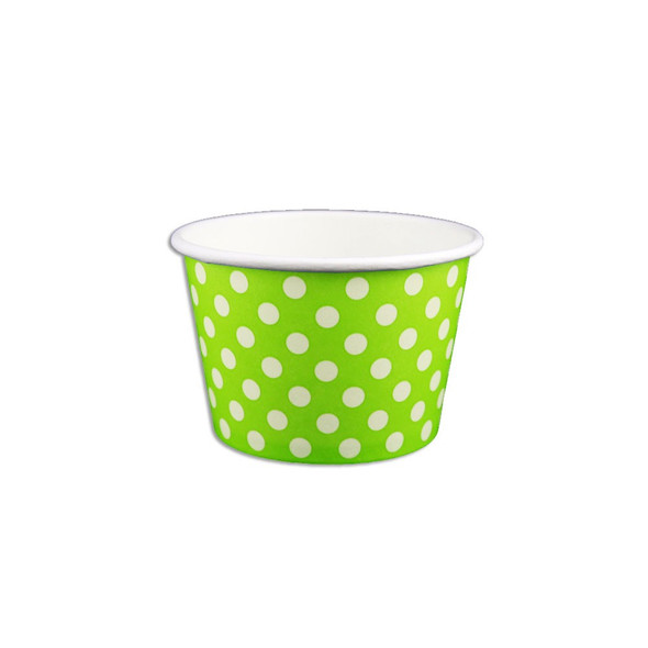 8oz Ice Cream/Froyo Cups 96mm 1000ct Green Polka Dot