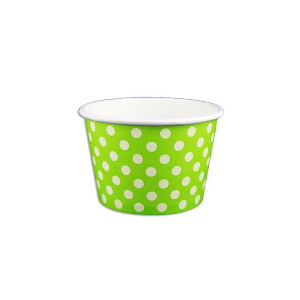 8oz Ice Cream/Froyo Cups 96mm 1000ct Green Polka Dot