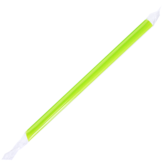 """9"""" Boba Straws 10mm Wrapped Green 1600ct"""