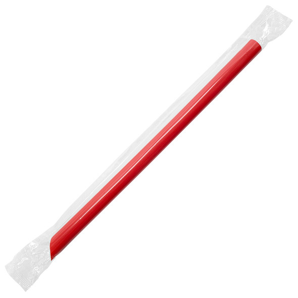 "9"" Boba Straws 10mm Wrapped Red 1600ct"