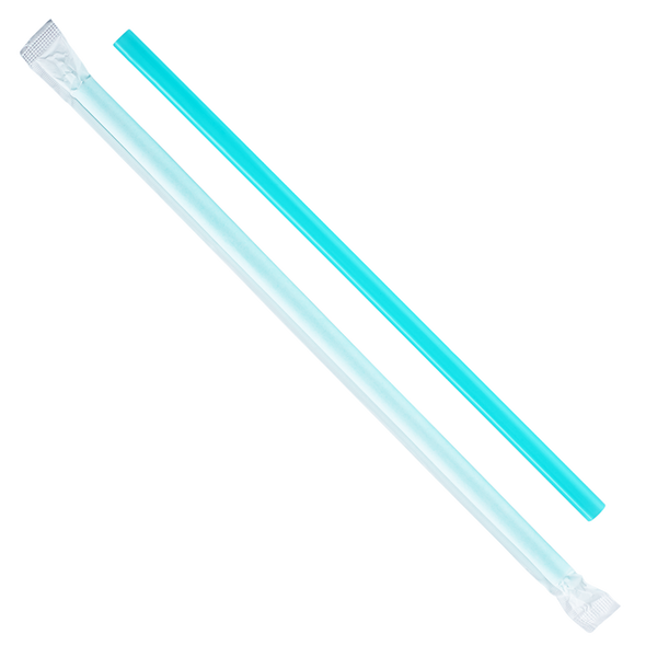 "9"" Giant Straws 8mm Paper Wrapped - Aqua 2500ct"