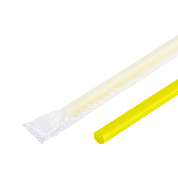 "9"" Giant Straws 8mm Paper Wrapped - Yellow 2500ct"
