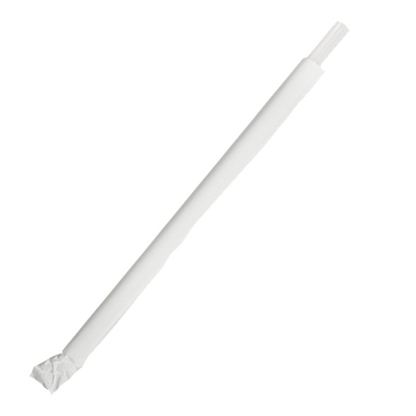 """7.75"""" Giant Straws 8mm Wrapped Clear 7500ct"""
