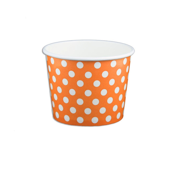 12oz Ice Cream/Froyo Cups 100mm 1000ct Orange Polka Dot