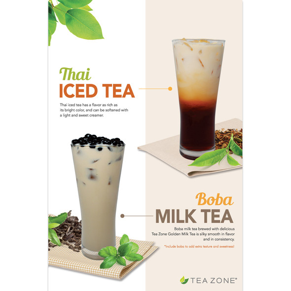 "TeaZone ""Boba Milk Tea & Thai Iced Tea"" Poster"