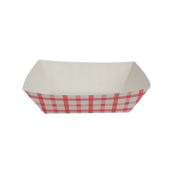 Food Tray Shepherd's Check White/Red 1000ct 1lb