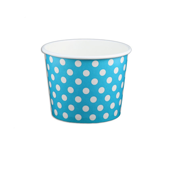 12oz Ice Cream/Froyo Cups 100mm 1000ct Blue Polka Dot