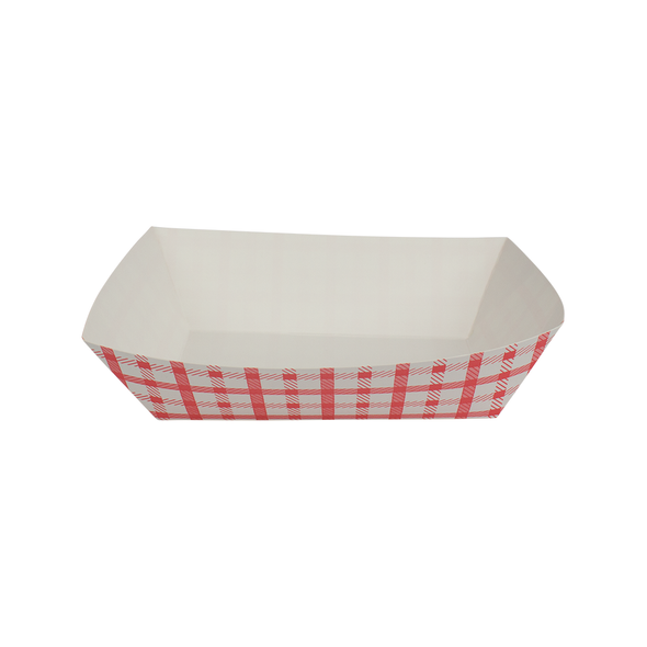 Food Tray Shepherd's Check White/Red 500ct 2.5lb
