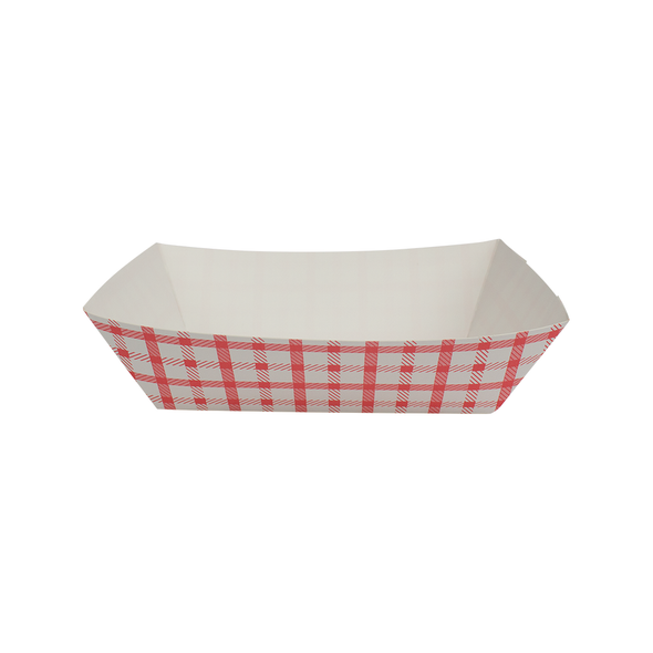 Food Tray Shepherd's Check White/Red 500ct 3lb