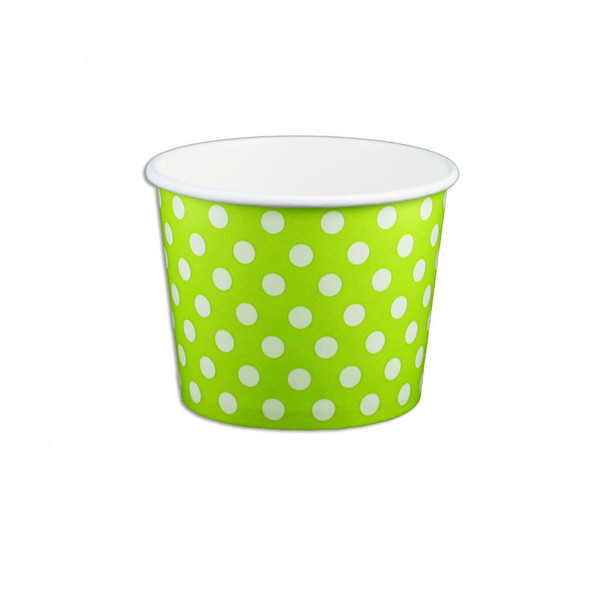 12oz Ice Cream/Froyo Cups 100mm 1000ct Green Polka Dot