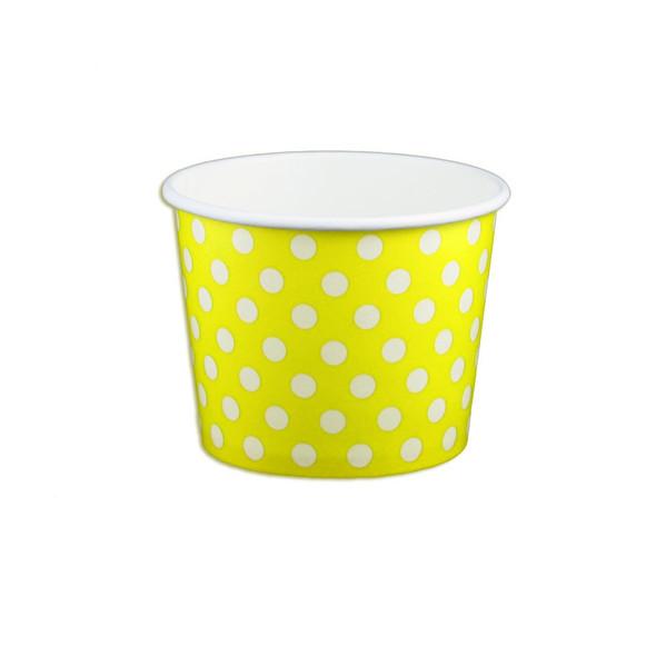 12oz Ice Cream/Froyo Cups 102mm 1000ct Yellow Polka Dot