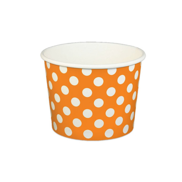 16oz Ice Cream/Froyo Cups 112mm 1000ct Orange Polka Dot
