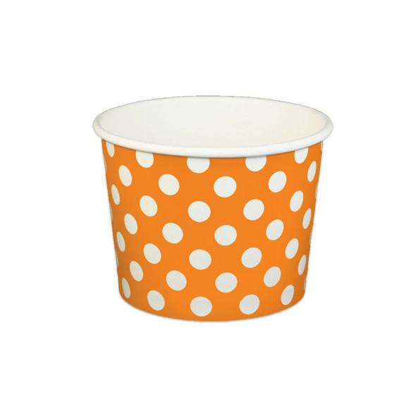 16oz Ice Cream/Froyo Cups 112mm 1000ct Orange Polka Dot