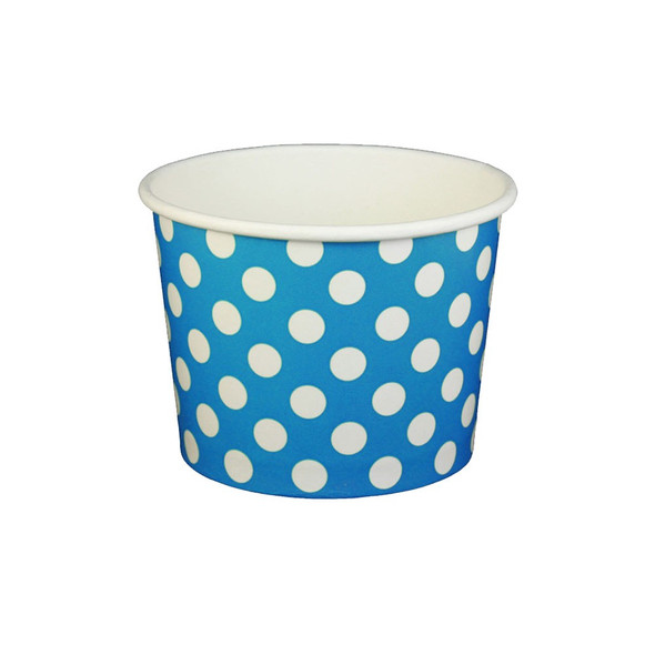16oz Ice Cream/Froyo Cups 112mm 1000ct Blue Polka Dot - Ideal for Ice Cream Shops, Froyo, Boba, Gelato Shops and Restaurants