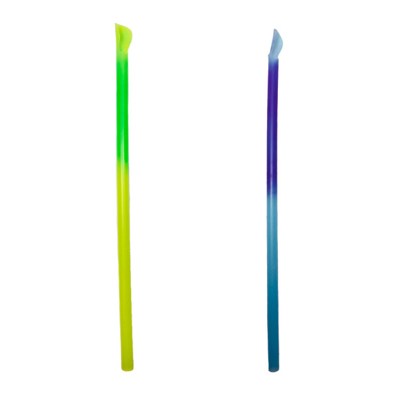 "MAGIC Color Changing® Film Wrapped 10"" Spoon Straws 1200ct Yellow-Grn & Blue-Purple"