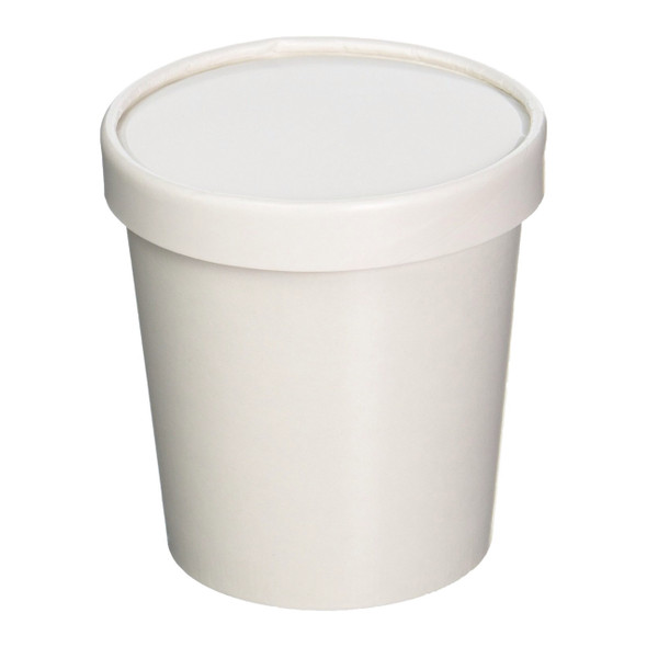 32oz White Paper Ice Cream Quart Container w/ Non Vented Lid 250ct