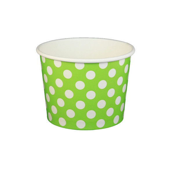 16oz Ice Cream/Froyo Cups 112mm 1000ct Green Polka Dot