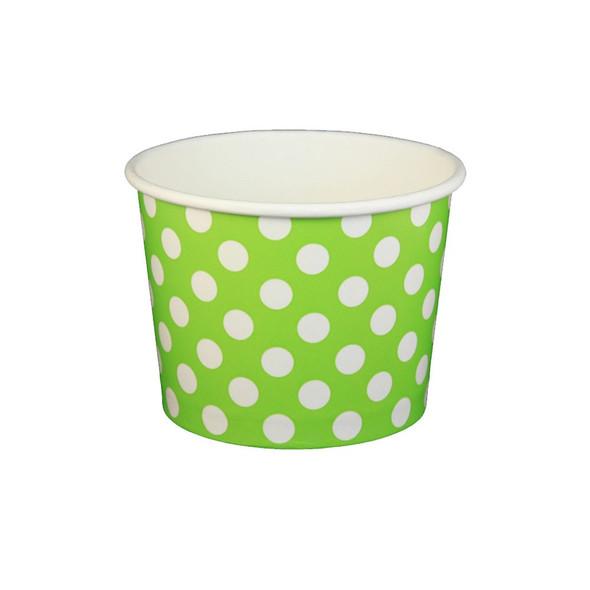 16oz Ice Cream/Froyo Cups 112mm 1000ct Green Polka Dot