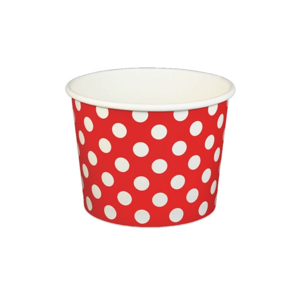 16oz Ice Cream/Froyo Cups 112mm 1000ct Red Polka Dot