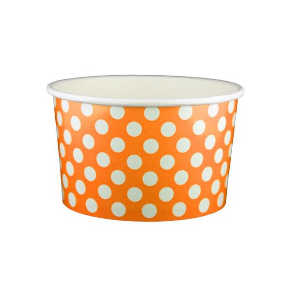 20oz Ice Cream/Froyo Cups 127mm 600ct Orange Polka Dot