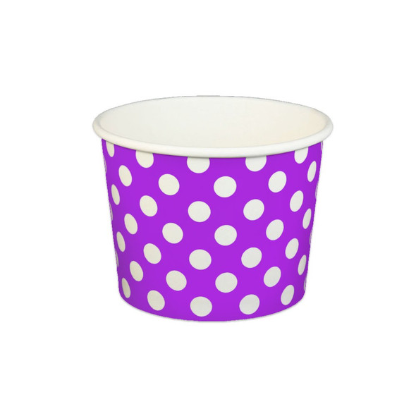 16oz Ice Cream/Froyo Cups 112mm 1000ct Purple Polka Dot