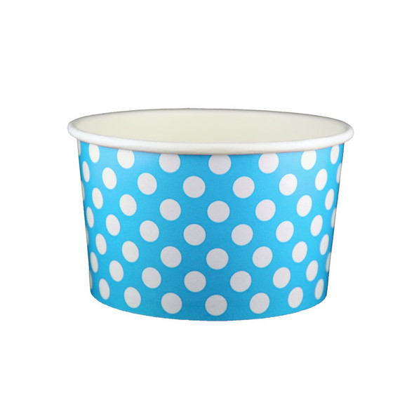20oz Ice Cream/Froyo Cups 127mm 600ct Blue Polka Dot