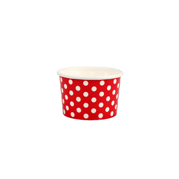 4oz Ice Cream/Froyo Cups 76mm 1000ct Red Polka Dot