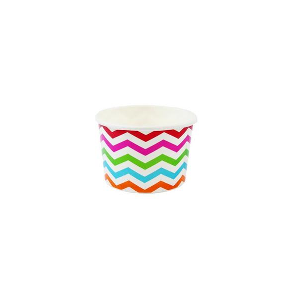 4oz Ice Cream/Froyo Cups 76mm 1000ct Chevron Multicolor