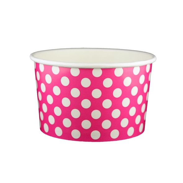 20oz Ice Cream/Froyo Cups 127mm 600ct Pink Polka Dot