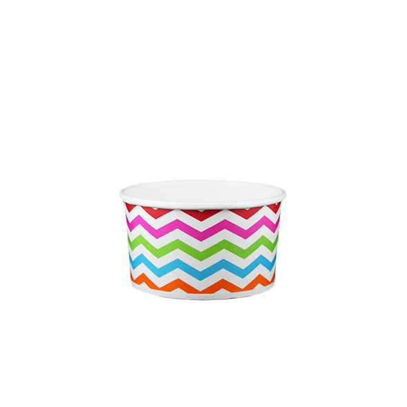 5oz Ice Cream/Froyo Cups 87mm 1000ct Chevron Multicolor - Ideal for ice cream shops, froyo, boba, gelato shops and restaurants