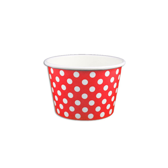8oz Ice Cream/Froyo Cups 95mm 1000ct Red Polka Dot