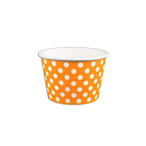 8oz Ice Cream/Froyo Cups 96mm 1000ct Orange Polka Dot