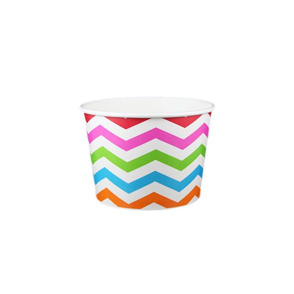 8oz Ice Cream/Froyo Cups 96mm 1000ct Chevron White/Multicolor