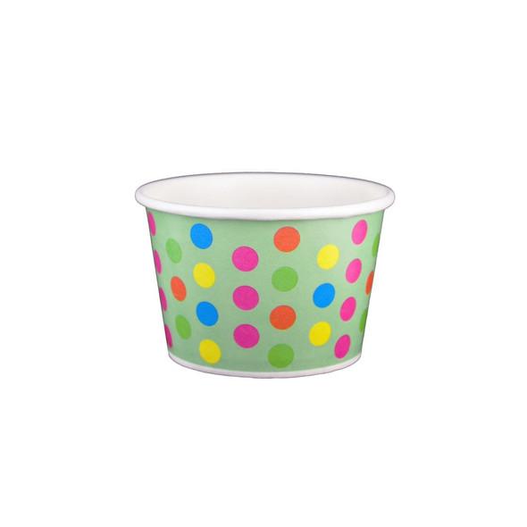 8oz Ice Cream/Froyo Cups 95mm 1000ct Aqua/Multicolor Polka Dot
