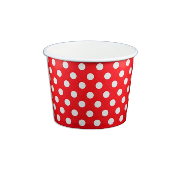 12oz Ice Cream/Froyo Cups 102mm 1000ct Red Polka Dot