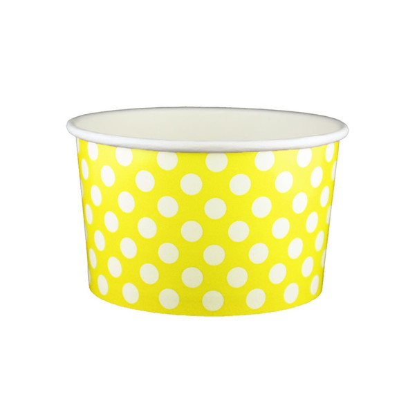 20oz Ice Cream/Froyo Cups 127mm 600ct Yellow Polka Dot