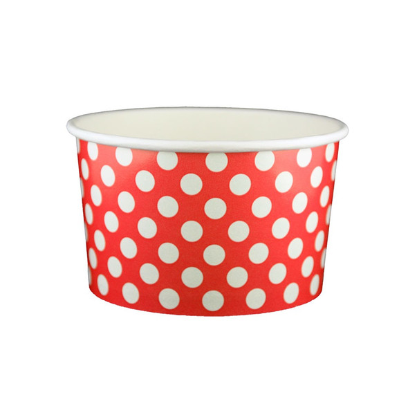 20oz Ice Cream/Froyo Cups 127mm 600ct Red Polka Dot