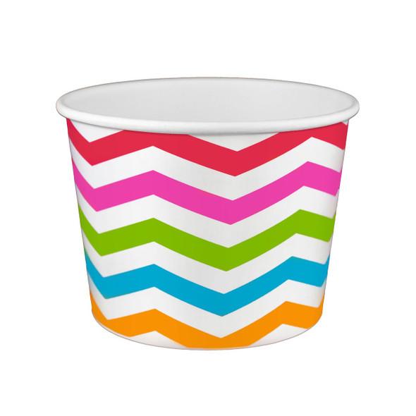 20oz Froyo Cups 127mm 600ct Chevron White/Multicolor